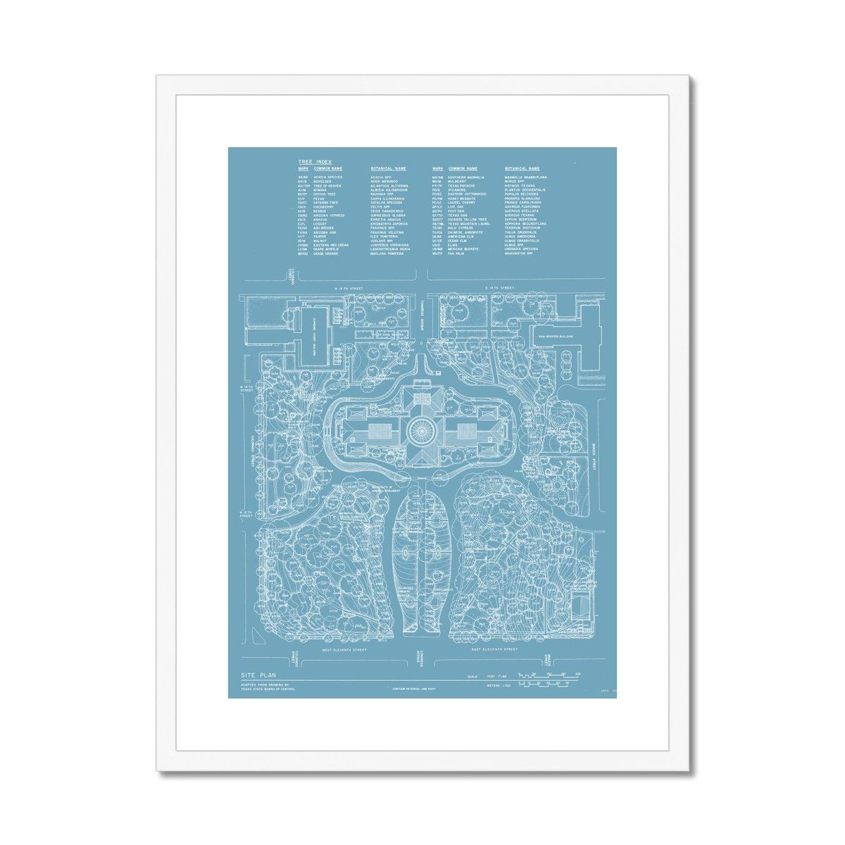 The Texas State Capitol Building - Site and Landscaping Plan - Blue - Framed & Mounted Print - 18x24 / White Frame