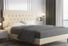 Fabric Upholstered Button Tufted Platform Bed Frame with Adjustable Headboard - Queen / Beige