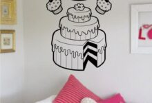 Bakery Cake Pie and Cupcakes Food Design Decal Sticker Wall Vinyl Decor Art - white