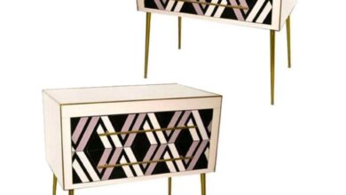 1990 Italian Graphic Pair of Geometric Black White Rose Gray Chests/ Side Tables