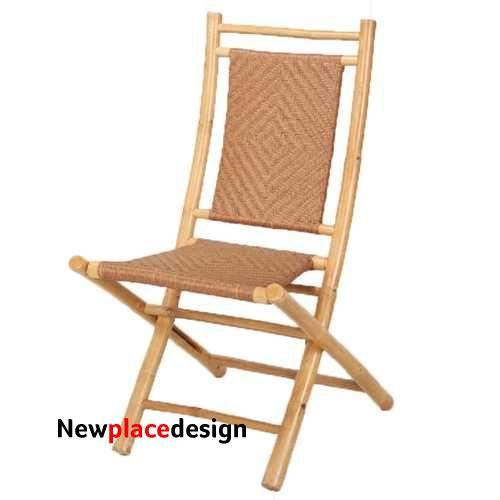 "20"" X 15"" X 36"" Natural/Tan Bamboo Folding Chair with a Diamond Weave"