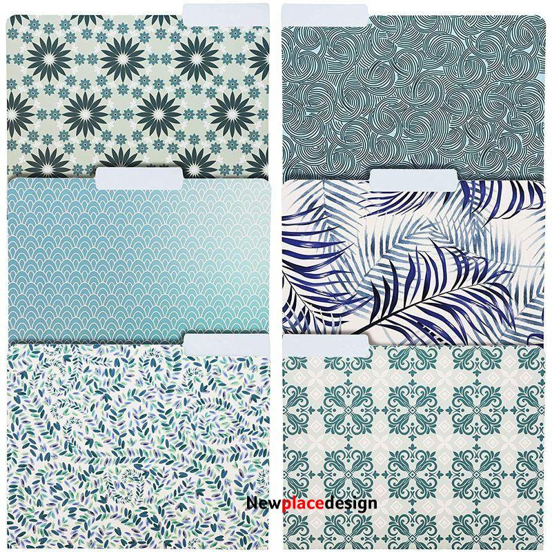 24 Pack Decorative File Folders in 6 Blue Tones Floral Designs, Letter Size, 9.5 x 11.5 in.