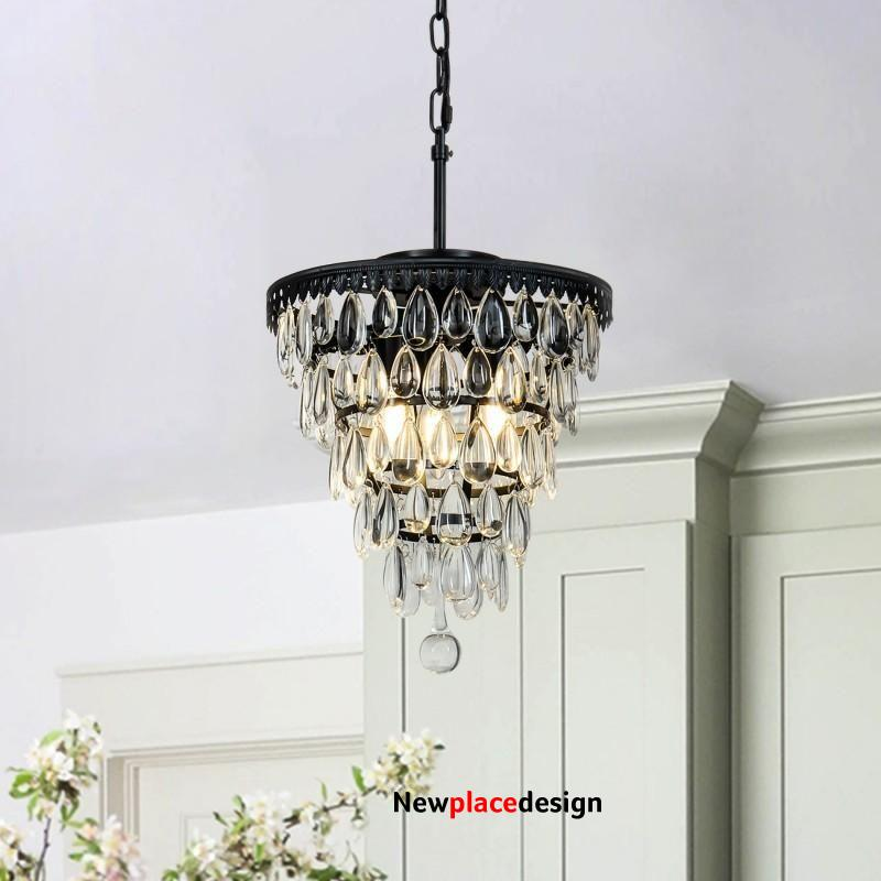 3 - Light Unique Tiered Chandelier with Wrought Iron Accents - Chandelier