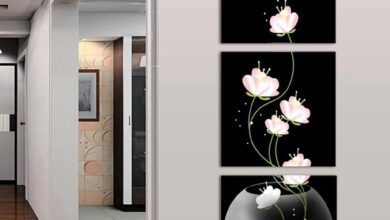 3 Panels Unframed Vase with Flower Canvas Painting Picture Wall Craft Home Decor - as the picture ax