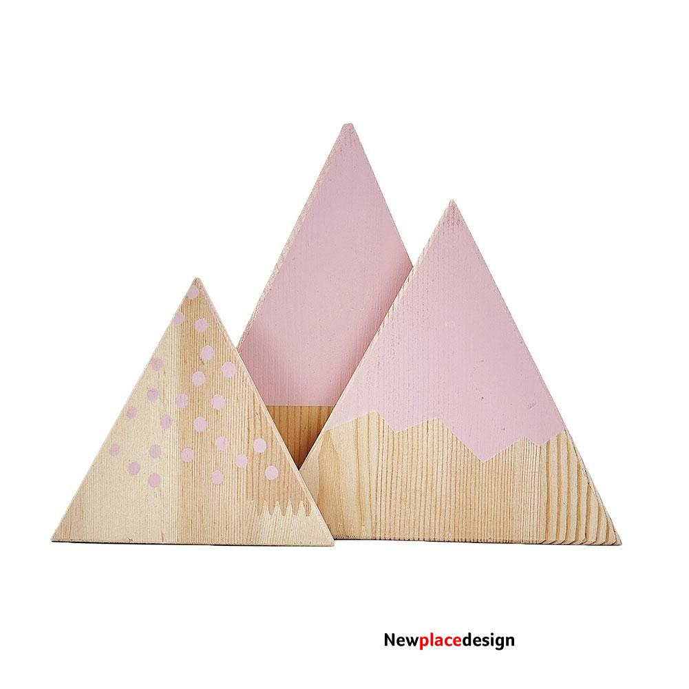 3Pcs/Set Nordic Mountain Style Triangle Shaped Kids Bedroom Decoration Ornaments - Pink