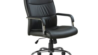 """41.5"""" Black Leather Look  Foam  and Metal Office Chair"""