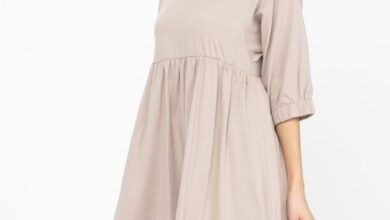 4/3 Raglan Sleeve Round Neck Shift Cotton Dress Tiered Solid Color Tunic Party Mini Dress - Mocha / Large 12-14