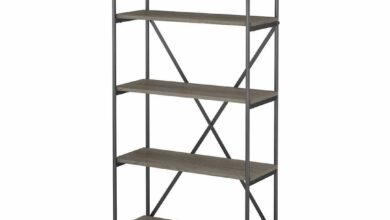 5 Shelf Etagere Bookcase - Restored Gray / Unique / Various