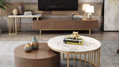 $579.99 Modern White & Walnut Coffee Table with Storage Rotating Marble Nesting Coffee Table in Gold
