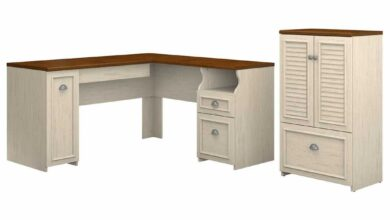 60W L Shaped Desk and 2 Door Storage Cabinet with File Drawer - Antique White/Tea Maple / Unique / Various