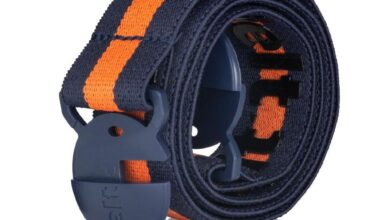 80s Throwback Navy Blue and Orange Elastic Belt - Small