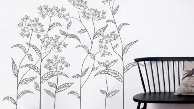 Abstract Plant Vinyl Wall Sticker - Extra Large Abstract Plant 170cm Wide x 150cm High