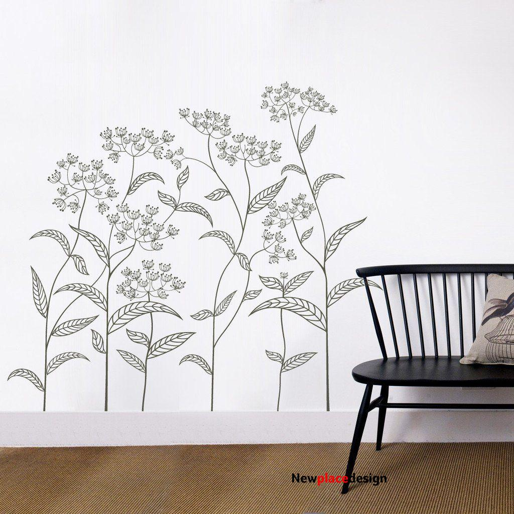 Abstract Plant Vinyl Wall Sticker - Small Abstract Plant Pack 70cm H x 58cm W