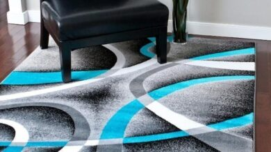 Abstract Swirls Turquoise Soft Area Rugs - 6' x 9'