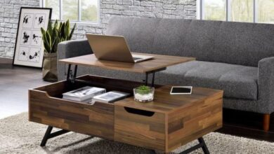 Acme Corporation Throm Walnut Lift Top Coffee Table
