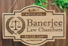 Advocate Office Name Plate - Hanging Wooden Sign - 18x12 / Mahogany