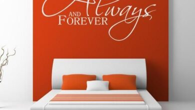 Always and Forever Wall Art Sticker - Large - 129cm (W) x 70cm (H) / Orange