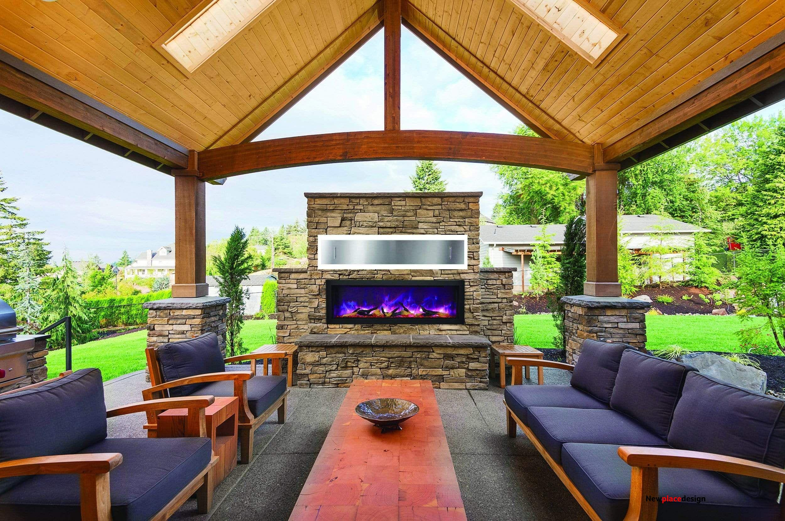 Amantii Panorama 50-inch Deep Built-in Indoor/Outdoor Linear Electric Fireplace - Outdoor Installation w/ Cover