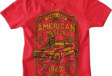 American Muscle Kids Unisex T-Shirt Classic USA - Age 9-11 / Red