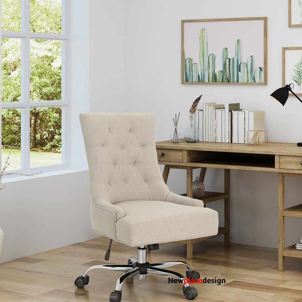 Americo Contemporary Tufted Fabric Adjustable Swivel Office Chair - wheat + chrome