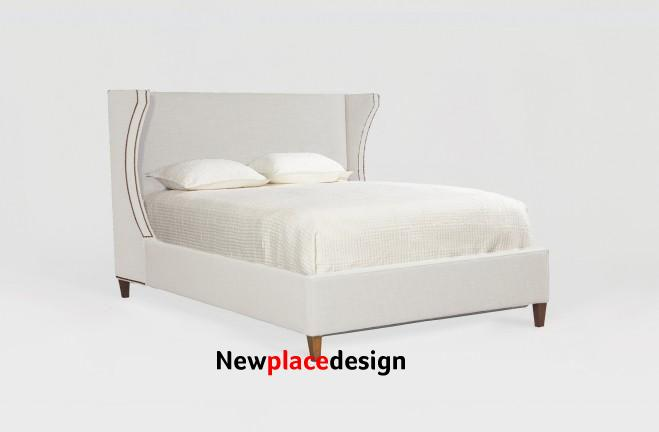 Arica Queen Bed with Nailheads MULTIPLE FABRIC OPTIONS - 121 Kasler Linen / Antique Brass / Natural