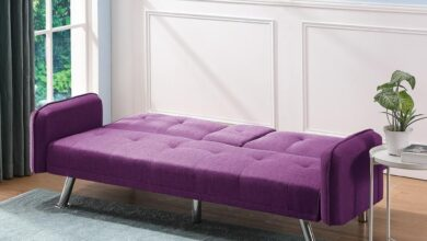 Arm Sofa Bed with Cup Holders (Purple)
