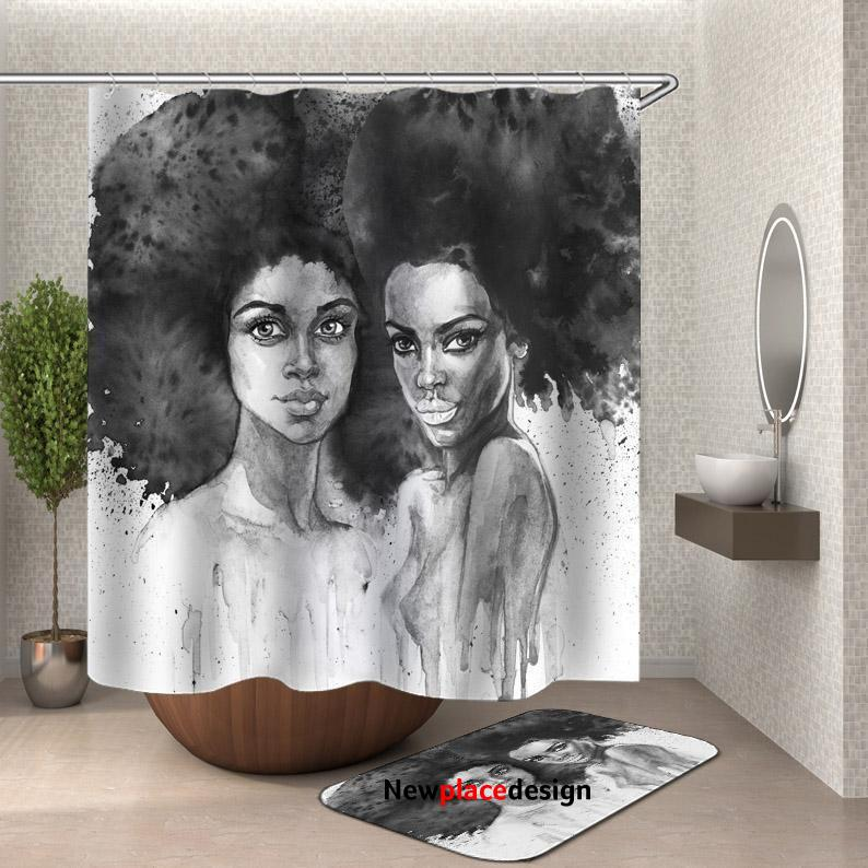 Art Painting Beautiful African Girls Shower Curtain - 200cm(W)*180cm(L) Shower Curtain Only