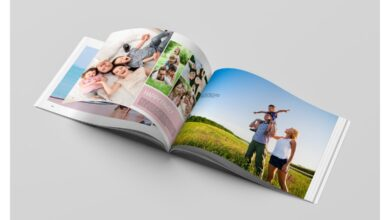 Baby or Family Photo Album in Brochure Templates on Yellow Images Creative Store