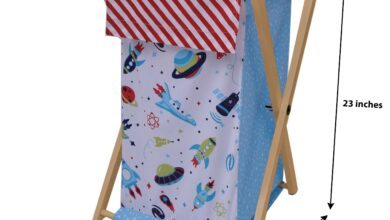 Bacati - Airspace, Boys Nursery Kids Storage. Aqua/Red/Orange/Green/Navy - Hamper with Wooden Frame