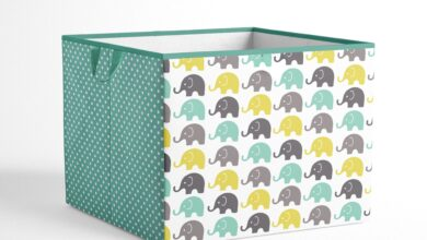 Bacati - Elephants Nursery Storage Items, Mint/Yellow/Grey - Large Tote 14 x 14 x10 inches