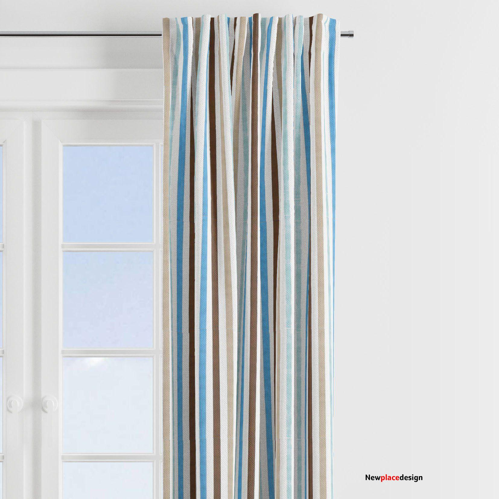 Bacati - Mod Diamonds Stripes, Aqua/Teal/Beige/Brown Window Treatments Curtain Panel/Valance Sold Individually (Multiple Prints to choose from) - Stripes Print