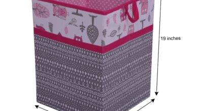 Bacati - Owls in the Woods Nursery Storage Items, Pink/Grey - Collapsible Laundry Hamper