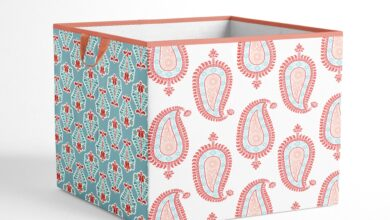 Bacati - Paisley Sophia Girls Nursery Kids Storage Items, Coral/Aqua - Large Tote 14 x 14 x10 inches