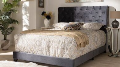 Baxton Studio Candace Luxe and Glamour Dark Grey Velvet Upholstered King Size Bed, Gray