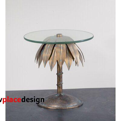 """Bay Isle Home™ Alaric End Table, Glass/Metal in Bronze/Clear, Size 13""""H X 11""""W X 11""""D   Wayfair"""
