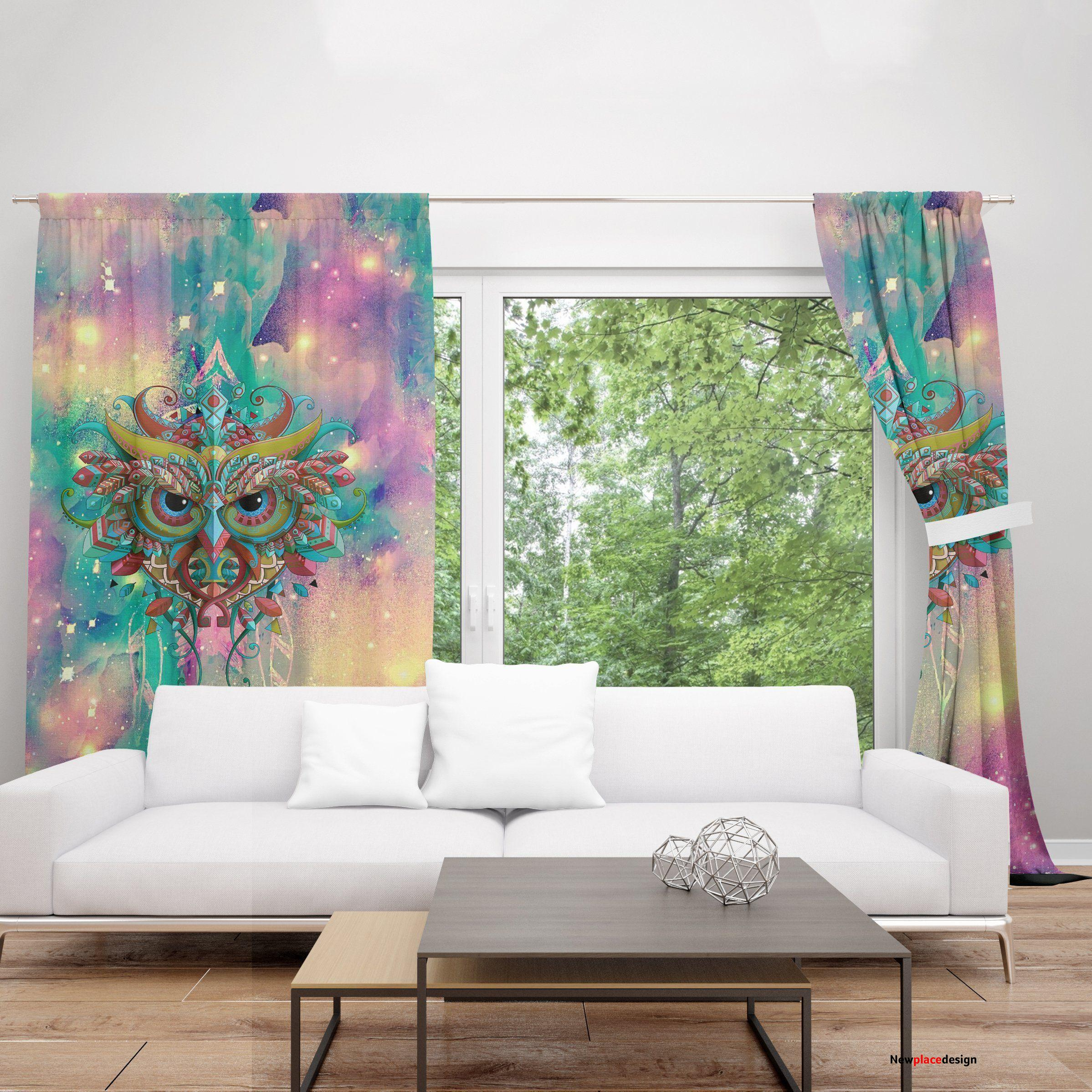 Beautiful Owl Blackout Thermal Grommet Window Curtains - 52'' x 95''