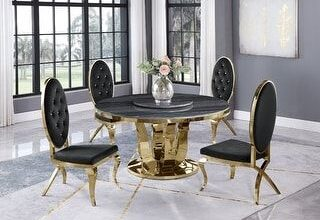 Best Quality Furniture Marble Round Lazy Susan Gold 5-piece Dining Set (1 Table + 4 Chairs - Black)