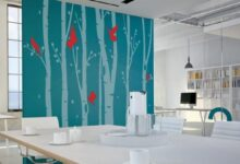Birch Tree Forest Office Wall Sticker - Small (3 Trees + Birds + Leaves) / None