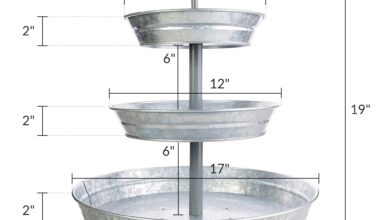 BisonHome 3-Tiered Serving Tray (Large) Rustic, Decorative Galvanized Metal | Home Farmhouse Décor & Display Stand | Coffee, Margarita Bar, Party Appetizers, Cupcake Stand | Indoor, Outdoor Use …