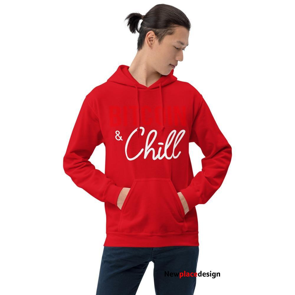 Bitcoin & Chill Bitcoin Hoodie For Men (Dark) - Red / M