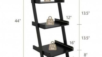 Black 3 Tier Leaning Rack Wall Ladder