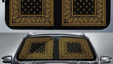Black Gold Bandana Car Window Shade - Auto Sun Shade - Black Gold Bandana Car Widow Shade