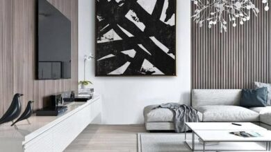 Black and White Abstract square Painting Minimalist Art, Modern Wall Art Decor, Original Textured Pa