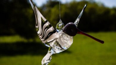 Black and White Glass Hummingbird with Infused Ash
