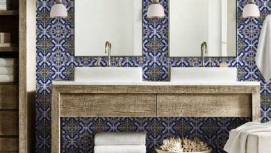 Blue Yellow Moroccan Tile Repositionable Removable Wallpaper, Peel & Stick Fabric Wallpaper, Mexican