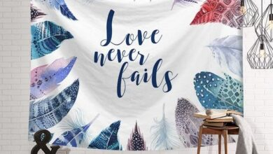Bohemian Style Inspirational Tapestry - Love Never Fails - Center / 79 in x 59 in
