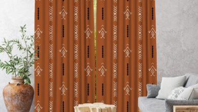 Boho Curtain,African Mud Cloth,Window Treatments,Blackout,Home Decor,Living Room,Room Darkering,Custom Size,Made to order,Digital Printed - 52*72 (1 Pannel) Inches / Brick
