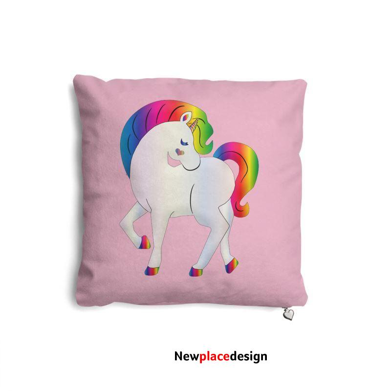 Bright Pink Unicorn Pillow set - Pack of 2 / Poly Fibre