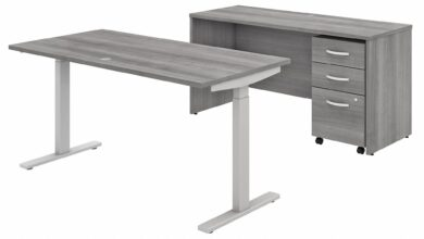 Bush Business Furniture Studio C 60W x 30D Height Adjustable Standing Desk, Credenza and Mobile File Cabinet in Platinum Gray