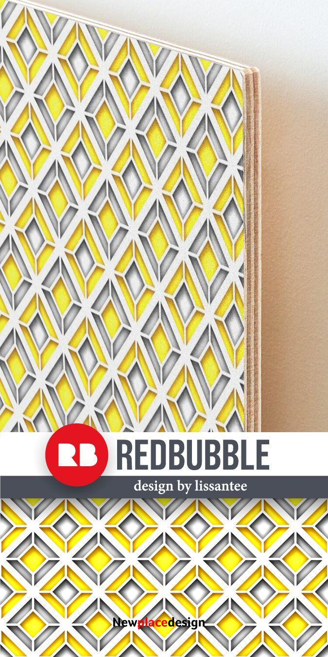 Buy Canvas or wood mounted print with Rhombic Geometric Pattern Print